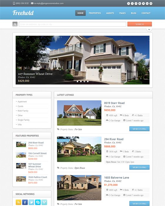 This real estate WordPress theme features a responsive layout, unlimited color schemes, custom Google Maps integration, Twitter and Flickr widgets, a working contact form, open house and featured listings widgets, and more.
