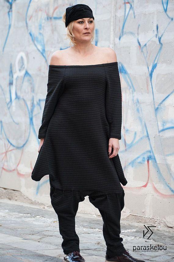 black jumpsuit outfit harem jumpsuit drop by paraskeloufashion