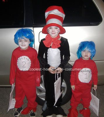 coolest cat in the hat and thing 1 and thing 2 costume - Cat In The Hat Halloween Costume Ideas