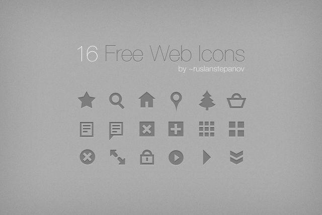 """16 Free Web Icons by ruslanstepanov """"for own and commercial use"""""""