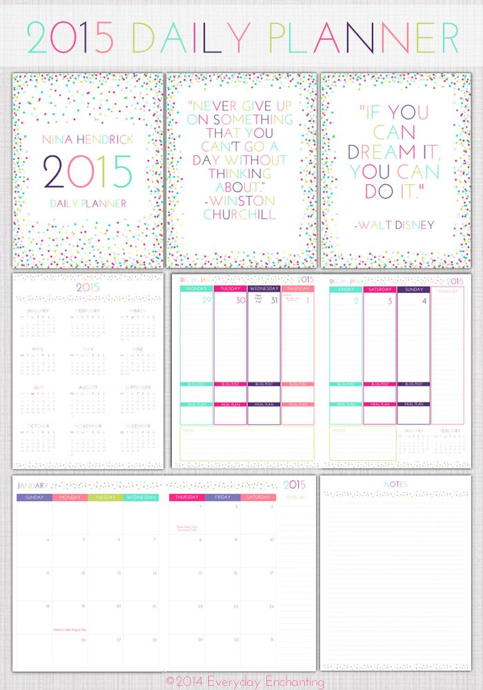 daily planner template 2015