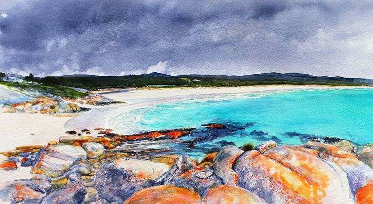 Bay of fires.East coast, Tasmania. Watercolour. Melhillswildart.