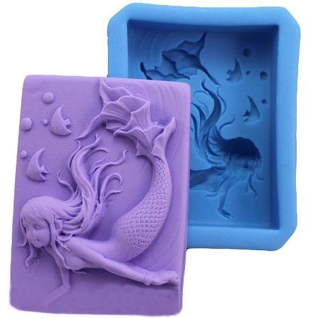 Carino Animale Bambino Caramella di Cioccolato Jello 3D Mermaid Stampo In Silicone di Cottura Della Cucina Attrezzi Della Torta Bakeware Fondente Pasticceria Stampi Sapone
