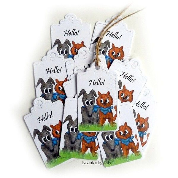 50 Hello Cat and Dog Party  Favors or Gift Giving Small Swings Tags