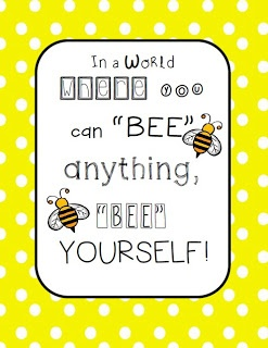 Free Bee Classroom Poster! Bee respectful, bee responsible, bee safe, and bee yourself!