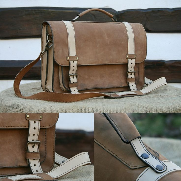 New leather laptop messenger bag! With a tan brown vintage look and modern practical features inside.