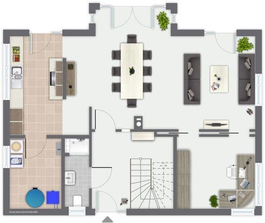 Fertighaus Erlenbach - Erdgeschoss