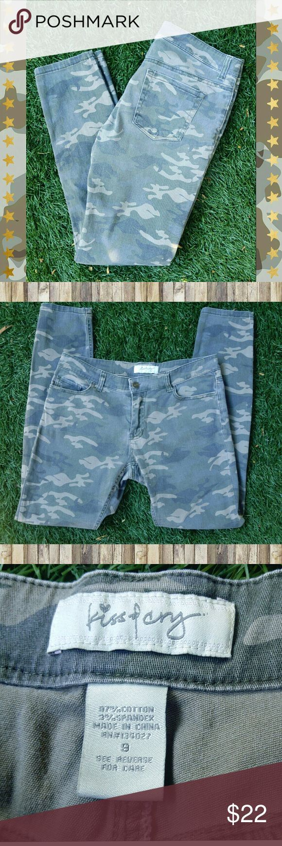 Camo Skinny Jeans Camouflage skinny jeans, brand is Kiss & Cry. Very stretchy, size 9. Colors are army green/khaki/grayish. Smoke free home, offers welcome.  #camojeans #camoleggings #camouflage Kiss & Cry Jeans Skinny