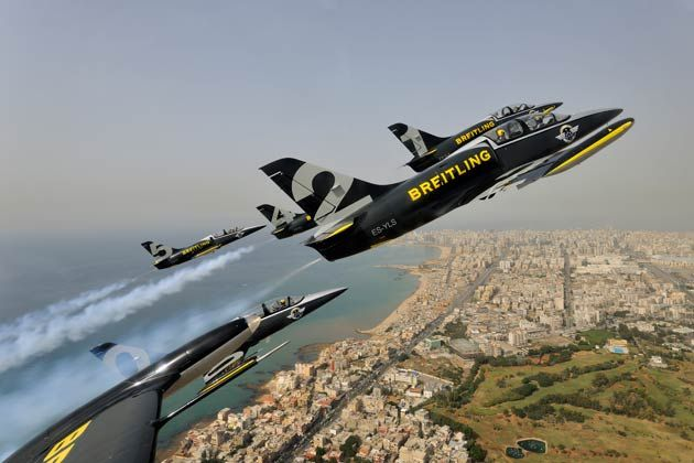 """The Breitling Jet Team, Breitling Wingwalkers and Yves """"Jetman"""" Rossy are flying East for winter, to bring Breitling's passions for aviation to new audiences in what is being collectively called """"The Breitling Dragon Tour""""."""