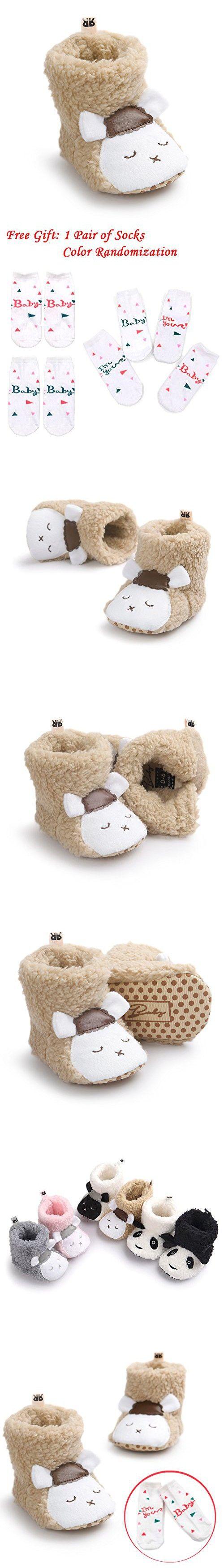 LIVEBOX Baby Boy and Girls' Premium Soft Sole Cartoon Animal Anti-Slip Mid Calf Warm Winter Infant Prewalker Toddler Snow Boots With Free Gift Socks (M: 6~12 months, Brown Sheep)
