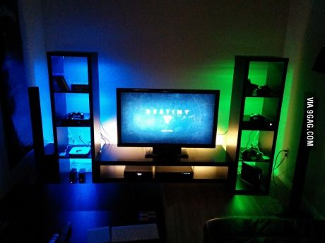 A different coloured light, and a different shelving unit for each brand of console. PS, XBox, Nintendo, ect. | #ForWhenTheyreTeens.
