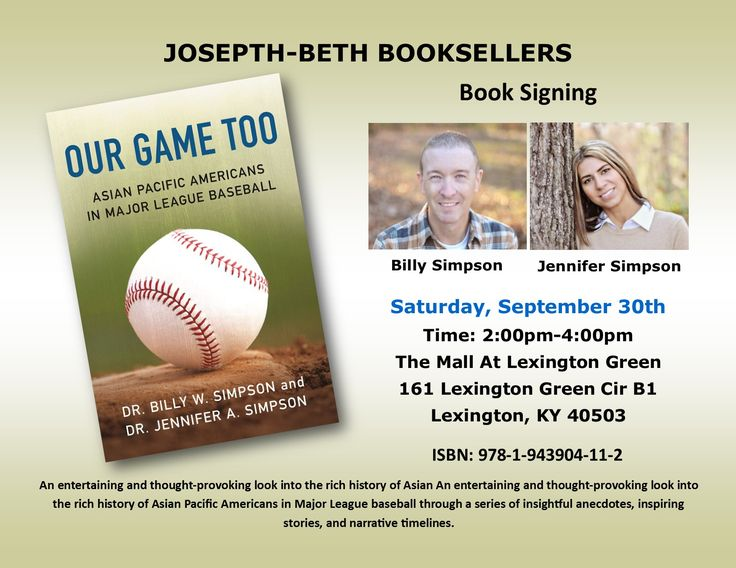 OUR GAME TOO: Asian Pacific Americans in Major League Baseball by Dr. Billy W. Simpson and Dr. Jennifer A. Simpson  Free event with paid admission to the museum.  Saturday, September 23rd 1pm-3pm 100 Joe Nuxhall Way  Cincinnati, OH 45202  #history #baseball #halloffame #bookclubs #asianamerican #pacificamerican #MLB #booklovers #majorleaguebaseball #baseballfan #sportsfan #cincinnatireds #cincinnatihof #cincinnatihofmuseum