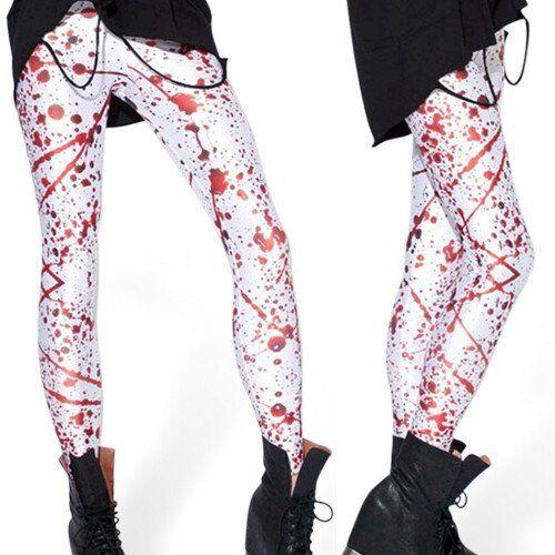BLOOD SPLATTER BIG LEGGINGS New Fashion Women punk Leggings Horror With Blood print fitness Pants