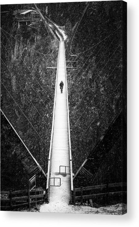 The Bridge Acrylic Print for sale. Hanging bridge in winter with snow, black and white fine art photography with stark contrast. Benni Raich Bruecke, Pitztal, Austria, Europe. View from above. The image gets printed directly onto the back of a sheet of clear acrylic. The image is the art - it doesn't get any cleaner than that! Matthias Hauser - Art for your Home Decor and Interior Design.