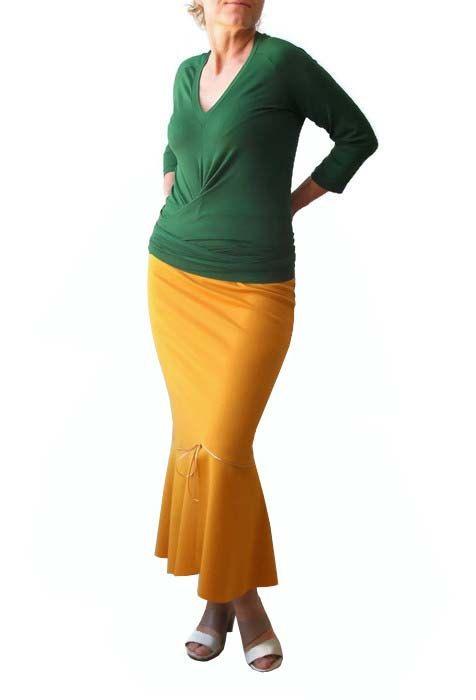 Maxi falda mostaza amarilla falda falda con volantes falda