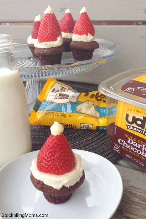 Gluten Free Santa Brownie Bites: Christmas Food, Gf Desserts, Banana Nut Muffins, Gluten Free Goodness, Banana Santa, Christmas Winter, Cute Ideas, Free Santa, Brownie Bites