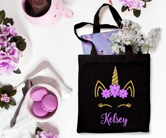 Personalized Unicorn Tote Bag Gift For Flower Girl, Junior