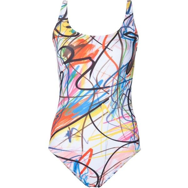 Jeremy Scott abstract print swimsuit ($250) ❤ liked on Polyvore featuring swimwear, one-piece swimsuits, multicolour, swimsuit swimwear, colorful bathing suits, bathing suit swimwear, swimming costume and swim suits