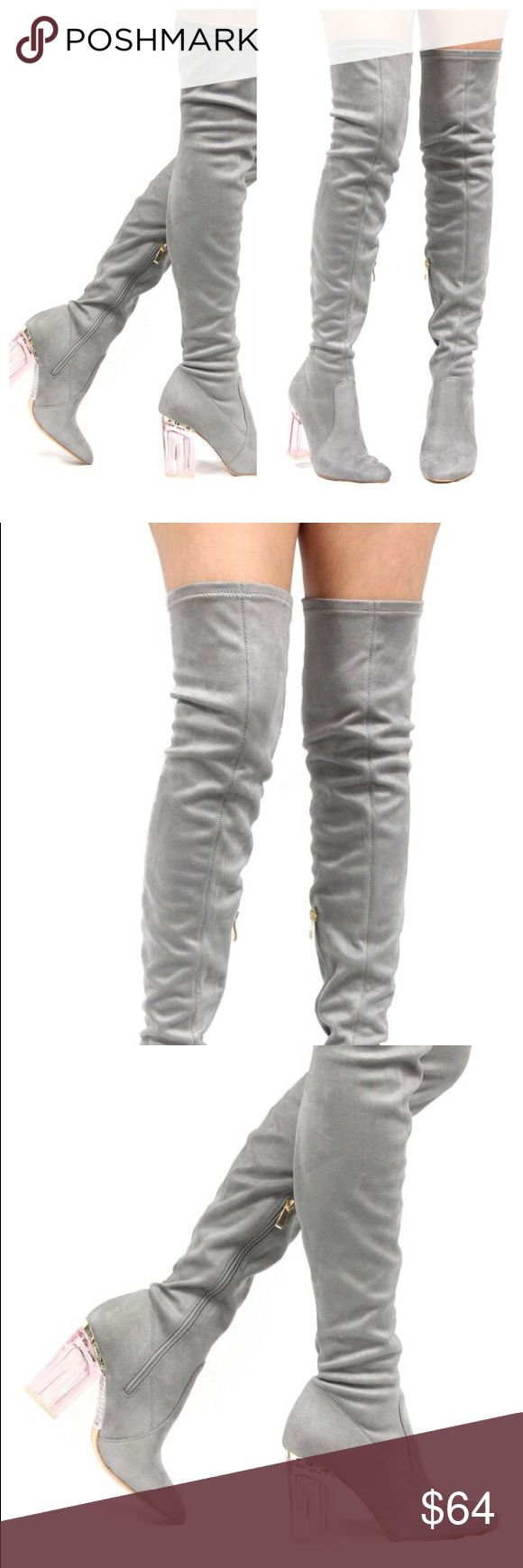 COMING SOON Knee High Faux Suede Gray Lucite Boots LIKE INTERESTED. BUY NOW TO PRE-ORDER ( I WILL ONLY BRING ONE SIZE OF EACH) These boots are super trending right now. They were first seeing in Dior Runway show. Knee High suede boots with lucite heels. Wear over your black leggings with an oversize sweater and you are a Magical Unicorn 🦄 . Pre-orders will take about 5 days to ship. ClosetBlues HighFash Shoes Over the Knee Boots