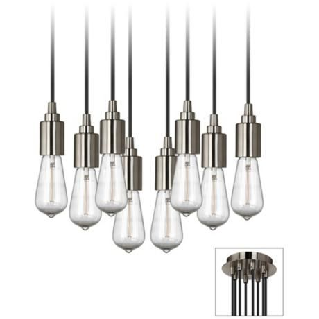 Europa 1910 Edison Bulb Brushed Nickel Multi Light Pendant