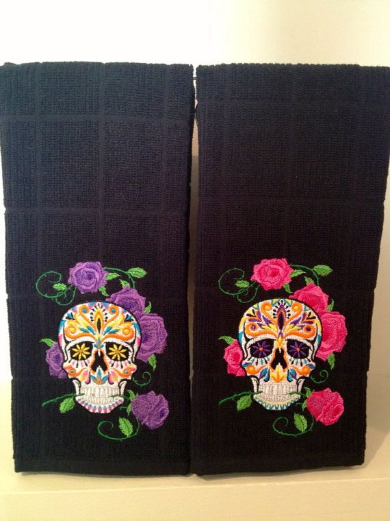 Sugar skull kitchen towel choose your by GoldenStitchStudio