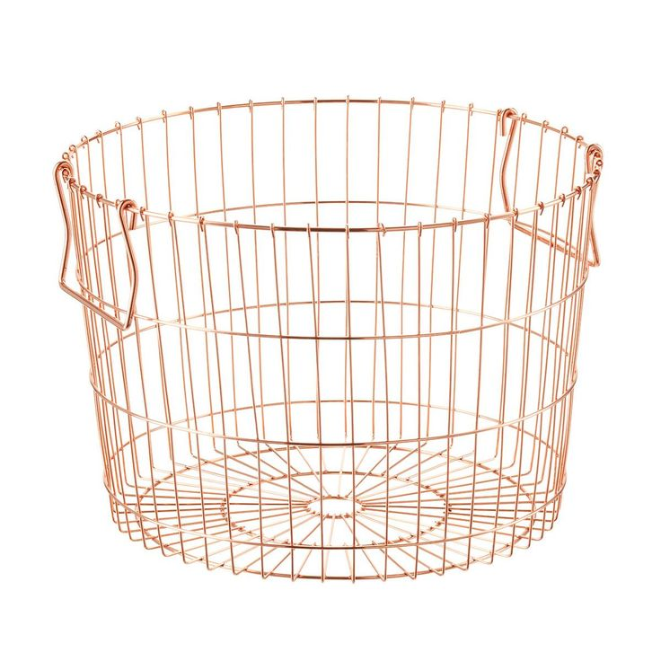 Beautifully constructed and coated with a gleaming finish, our Round Wire Storage Basket is a fashionable way to corral clutter. Its look can go rustic or industrial chic, and its versatile dimensions are perfect for storing towels in a guest bath, organizing art supplies and kids' projects, or creating a personalized gift presentation.
