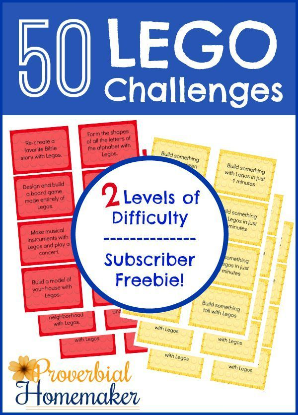 50 Lego Challenges - Printable Lego challenge cards for subscribers! - http://www.proverbialhomemaker.com/printable-lego-challenge-cards.html