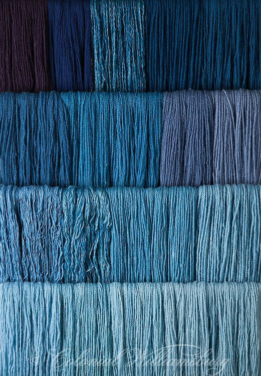 Studio photography of various colors of yarn dyed at the Weaver's shop. Shot…