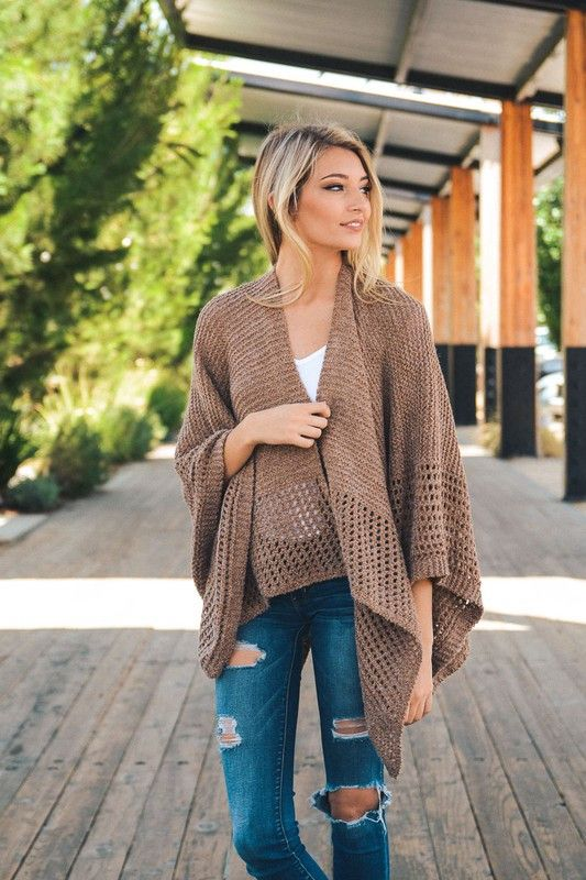 Dusty Rose Drap Knit Poncho                                                                                                                                                                                 Más