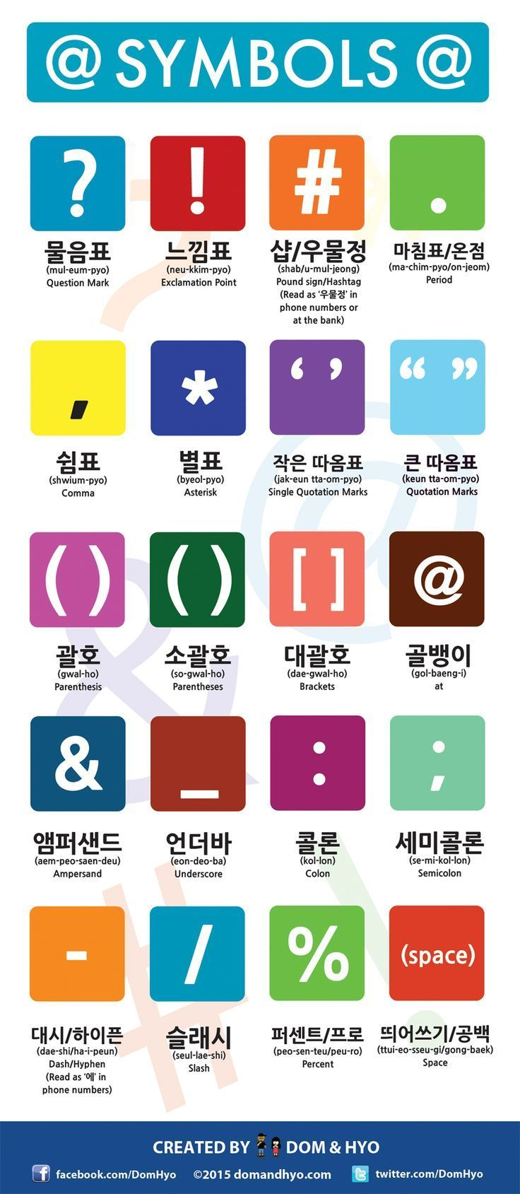 Learn Korean symbols with this helpful infographic from Dom & Hyo  #LearnKoreanFast #StudyKorean #KoreanLanguage
