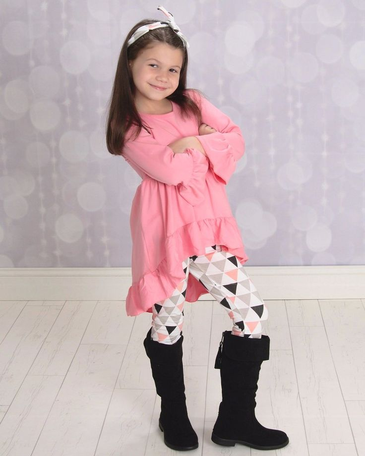 Pink High-Lo Tunic With Triangle Leggings Set With Headband