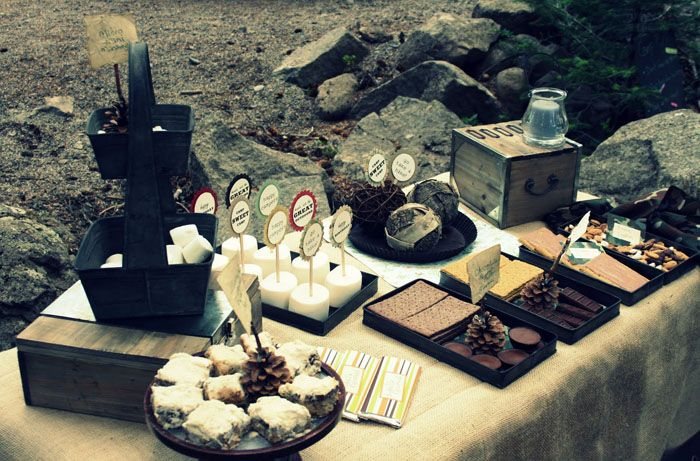 S'mores Bar: Party Time, Buffet, Smores Bar, Birthday Parties, Wedding Ideas, S More, Camping Parties, Party Ideas