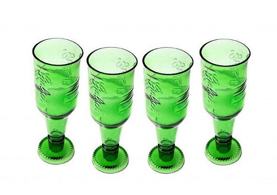 Set of 4 Upcycled beer bottle glass by ekodizajn on Etsy