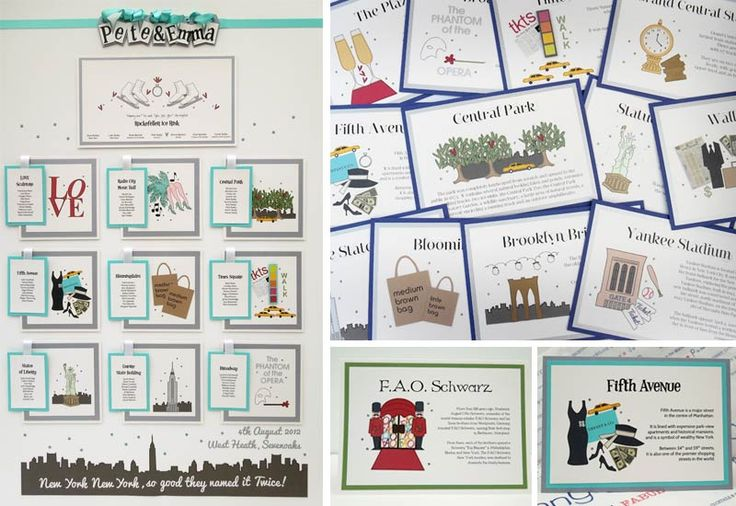 New York Table Plan and Table Name - Iconic table plan featuring some of the best places of this iconic city £225 for 10 tables