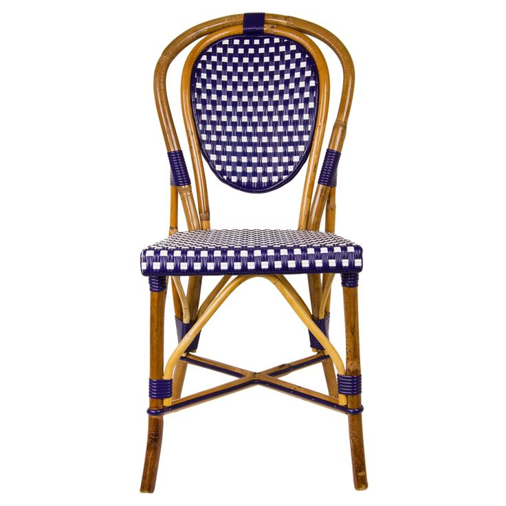 Navy Blue Bistro Chair: Price: $232.95/November 2014. Our most popular chair! These armless rattan-framed dining chairs are part of the iconic French bistros of Le Midi, or the south of France. Hand-woven and artisan crafted, these French style bistro chairs in bright synthetic material, will add a pop of color to your outdoor or indoor space.