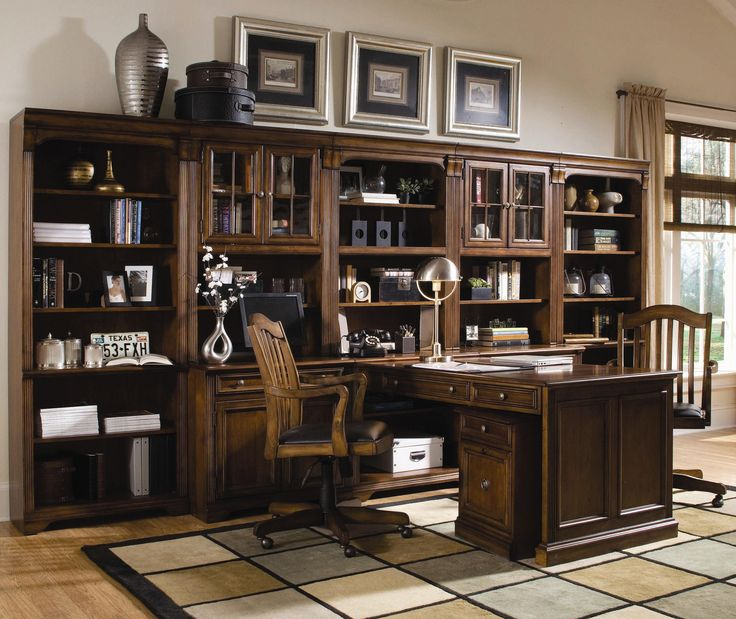 This would look great in my office!!! Brookhaven Office Wall Unit by Hooker Furniture
