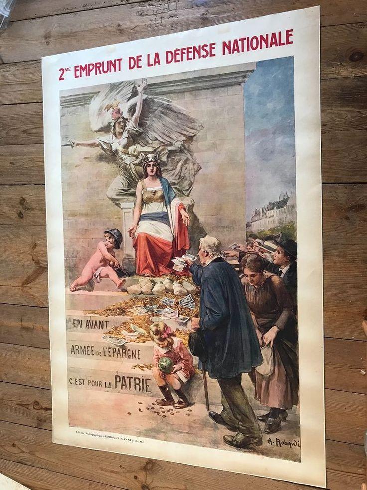 Grande Affiche Ancienne Guerre 1916 2ème emprunt Robaudy