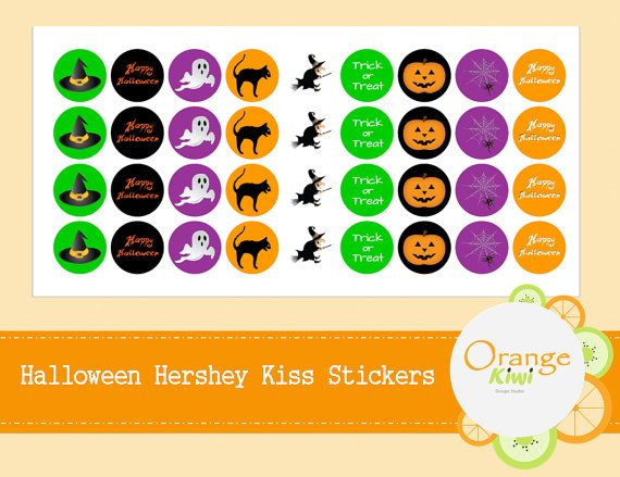 Halloween Hershey Kiss Candy Stickers  by OrangeKiwiDesign on Etsy