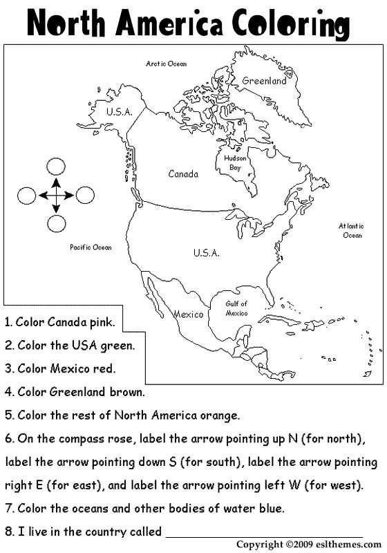 North America Coloring Page Homeschool