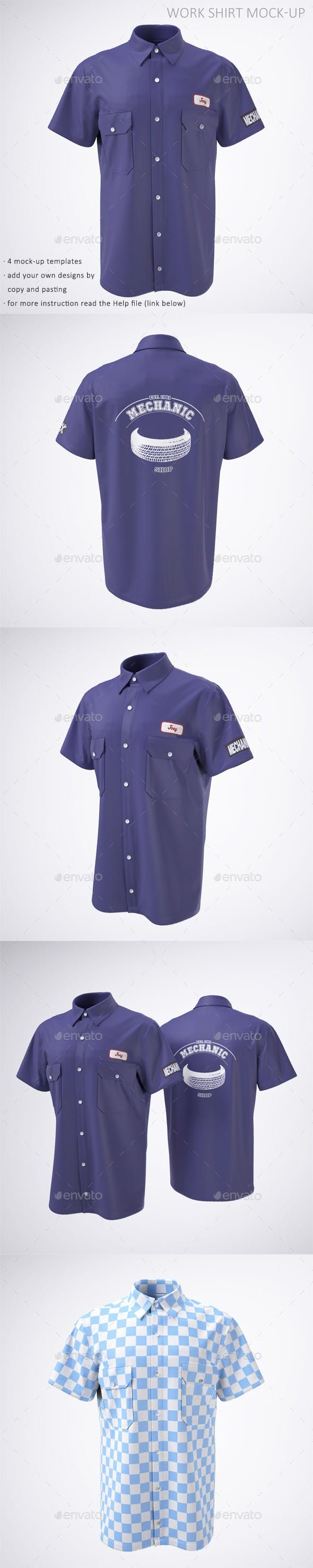 Download Work Shirt With Short Sleeves Mock Up Pakaian