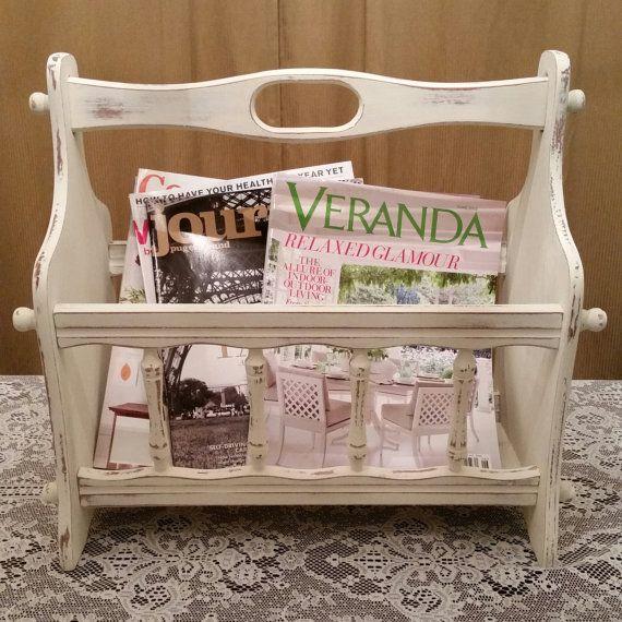 Magazine Rack, Annie Sloan Old White Chalk Paint Magazine Rack, Vintage Magazine Rack, White Magazine Rack, Wood Magazine Rack, Shabby Chic