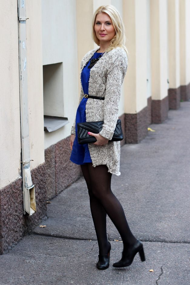 Dress: LiLLE Clothing / Necklace: KappAhl / Bag: Ted Baker / Knitting: Object / Shoes: Shoeshibar