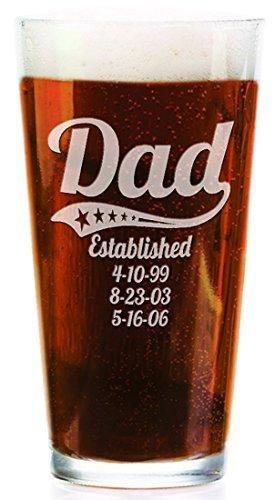 Personalized Daddy Pub Glass with Kids Birthdates 16 Oz Fathers Day Beer Mug for Grandpa Dad Papa American Dad Hero Birthday Christmas Gift