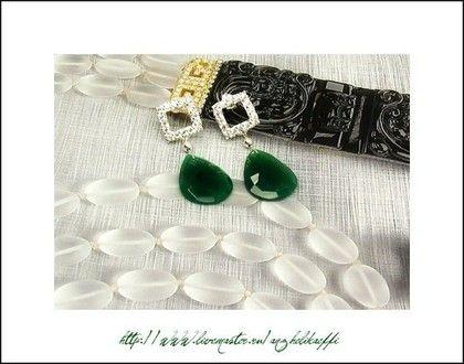 Серебряные серьги серебро 925. Ювелирные украшения. Зеленый оникс. - серьги