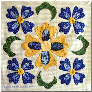 Free Applique Quilt Block Patterns   Penny Sanford Designs: Finished Baltimore Blue Block One