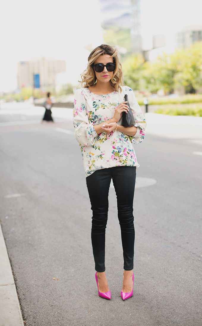 I really like the pattern and the colors in the blouse as well as the shape of the blouse and the sleeve length. Bye fit of the blouse looks comfortable as well. I like the accent color for the shoes but these are way too high for me. These pants are perfect as well. They set off the blouse very nicely. Great fit