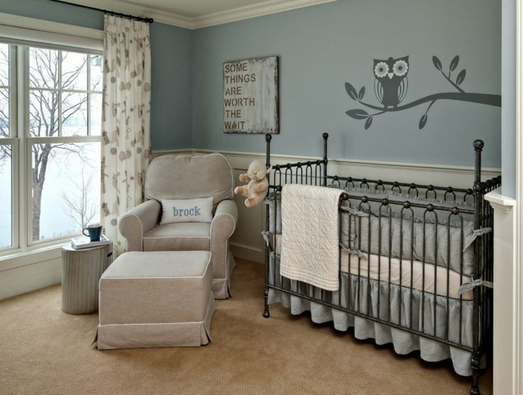 Sweet Baby Nursery Room With Owl Wall Mural Modern Boy Paint Ideas