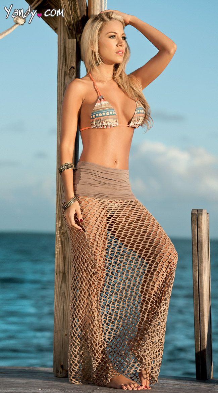 Crochet Net Cover Up Skirt, Long Cover Up Skirt