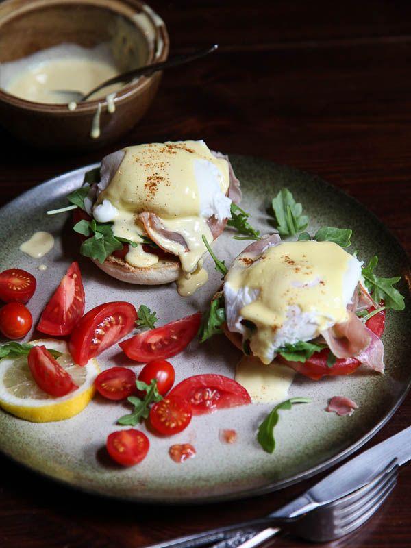 Arugula and Prosciutto Egg Benedict with Homemade Hollandaise | foodiecrush.com