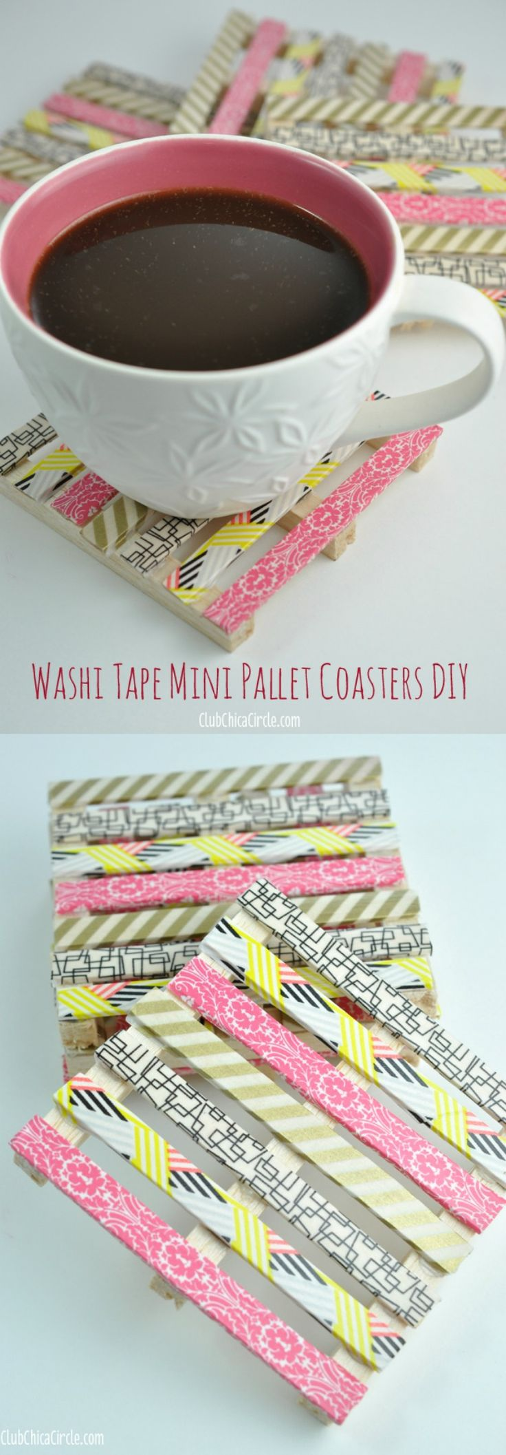 How to create mini wood pallet DIY coasters using popsicle sticks, small wood piece and washi tape. So cute and easy!
